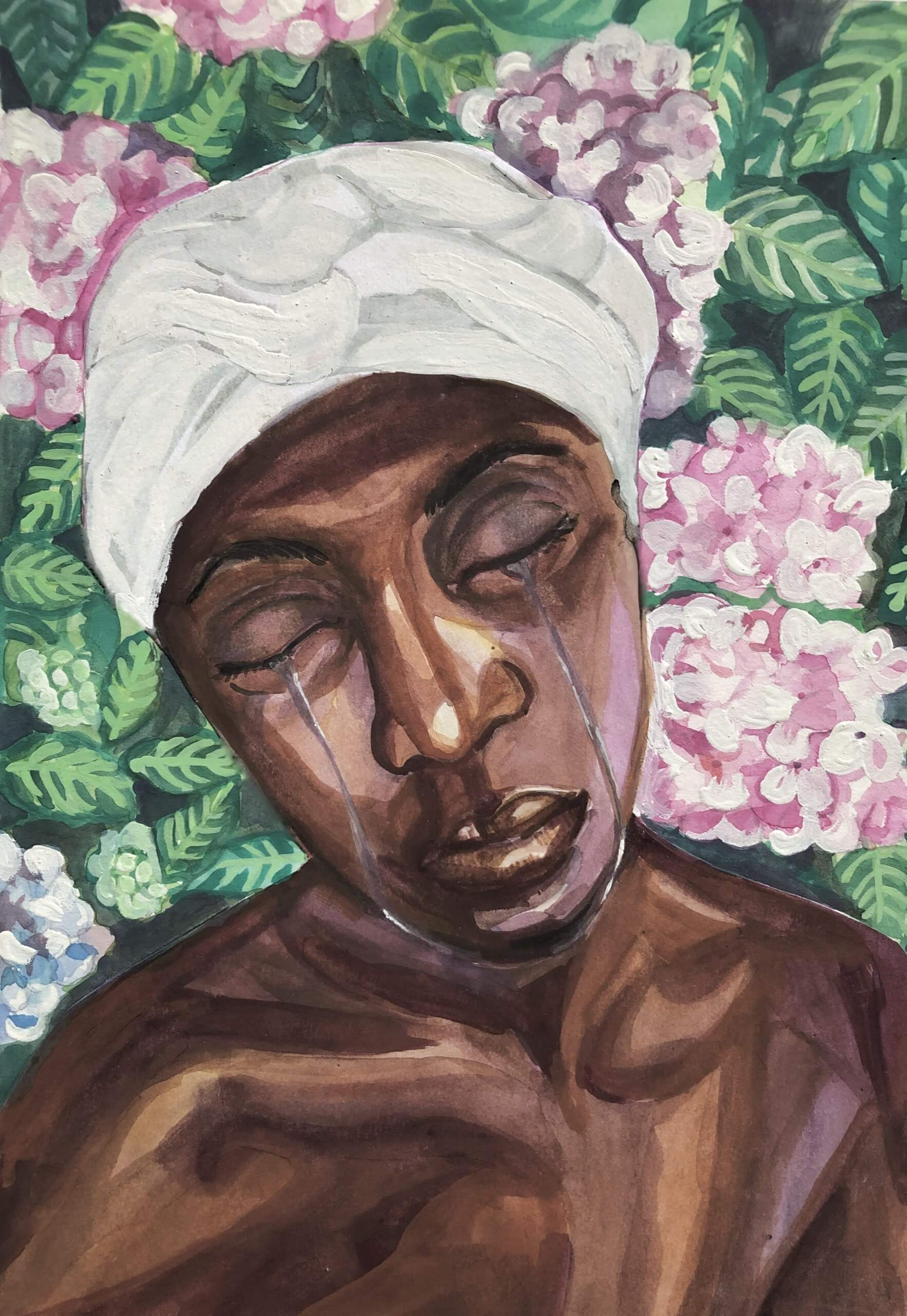 A painting of a Black woman's bust against a field of pink flowers. She has her eyes closed and is weeping.