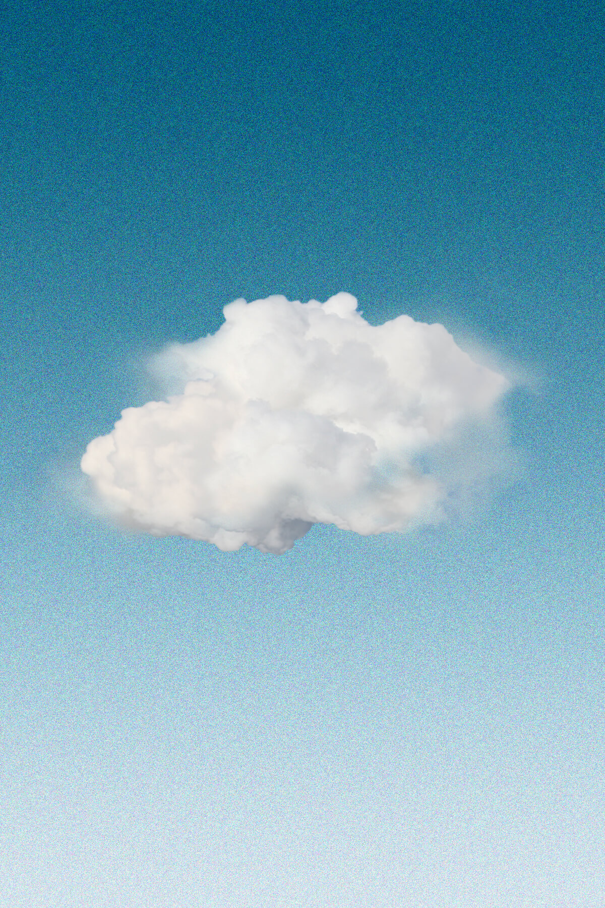 A digital painting - a small fluffy white cloud, fading into mist on either side, floats against a sky blue gradient, from dark blue at the top to light gray at the bottom.