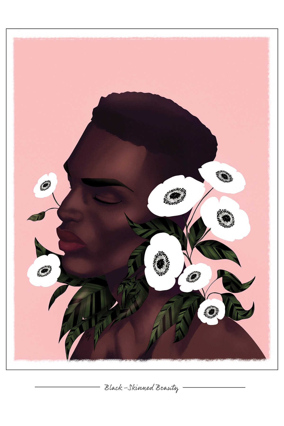 "A painting of a Black man's head and shoulders in profile. He is surrounded by large white flowers, with a pink background and the words ""Black-Skinned Beauty"" in the white border at the bottom."
