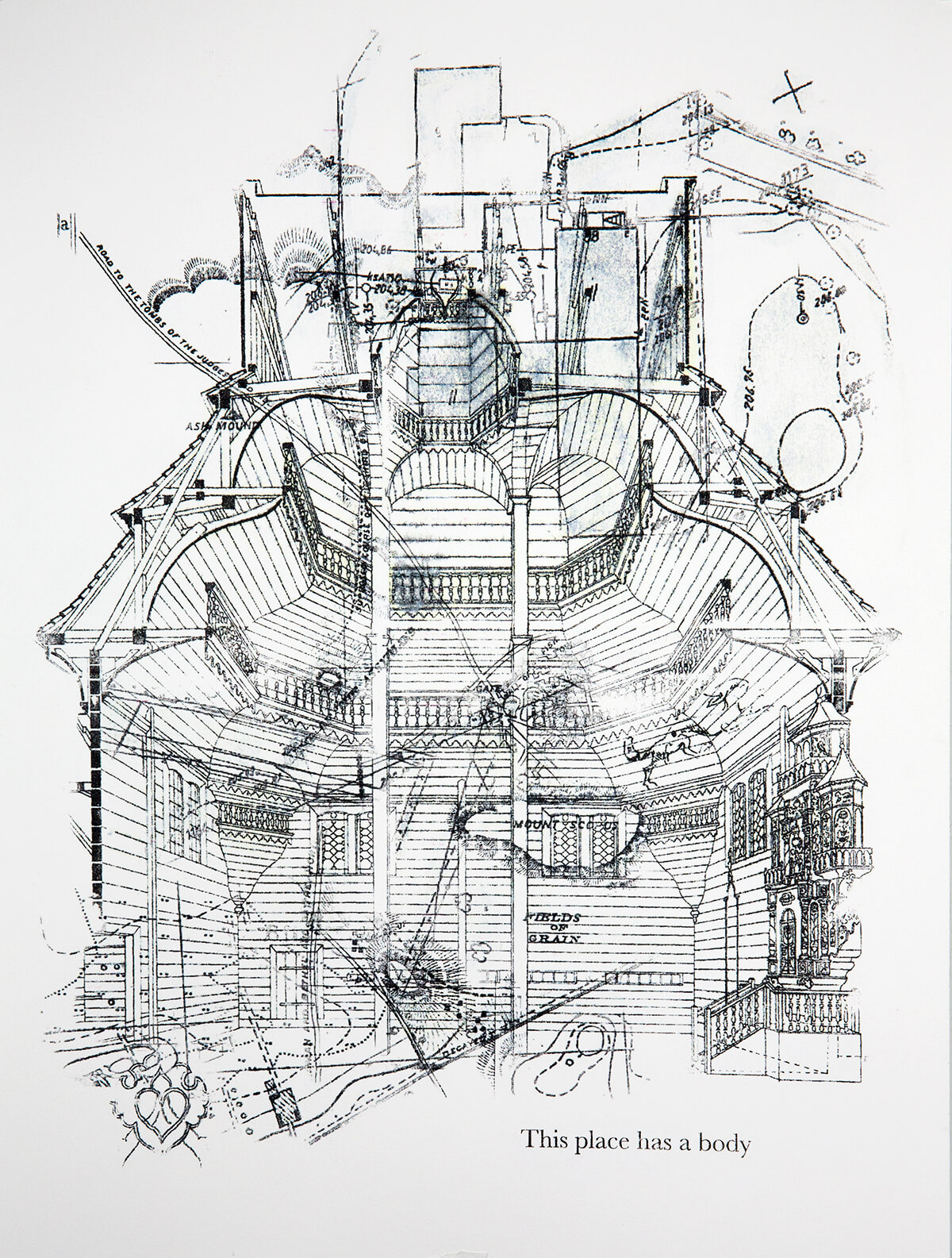 """An architectural drawing of a turretted building is overlayed with some map imagery. On the bottom of the vertically oriented image are the words """"This place has a body"""""""