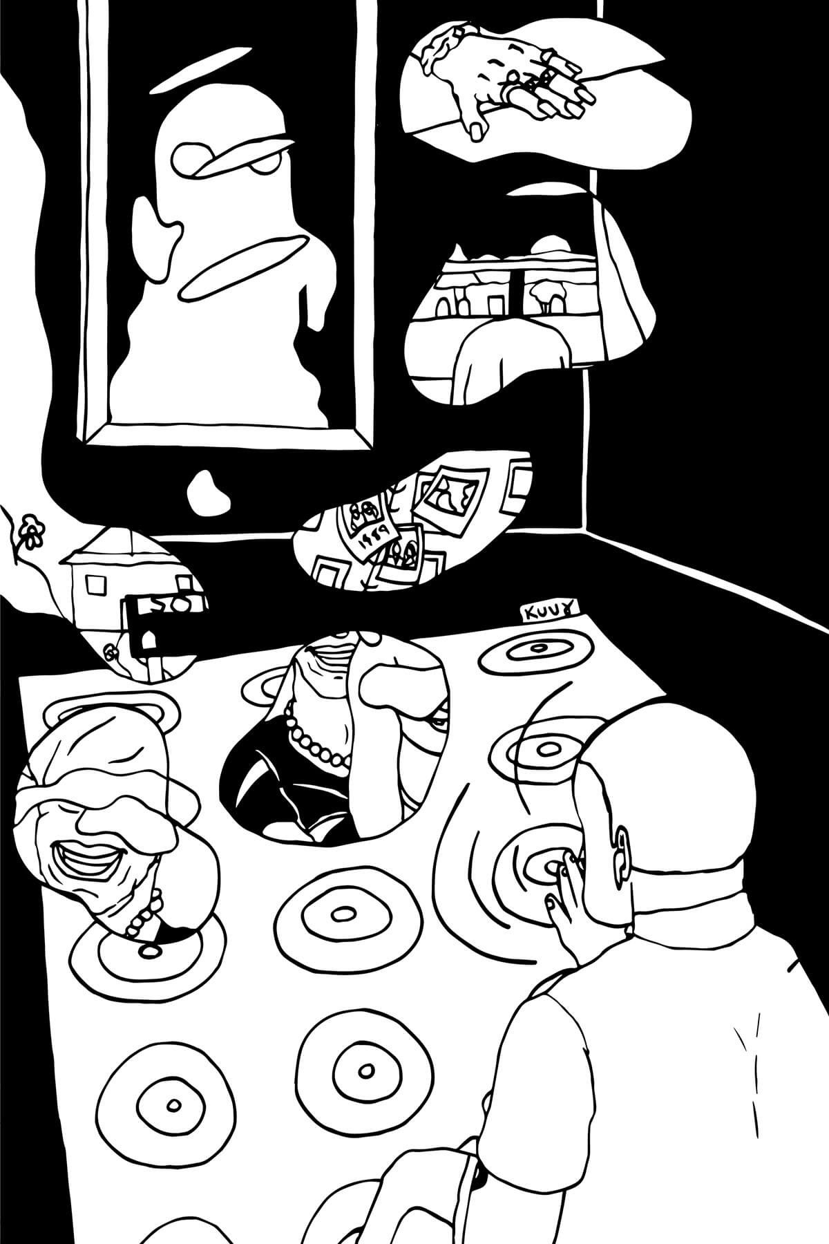 A black and white drawing of a person spinning LPs in a darkened room. There are many records pictured, and from many of them bubbles arise that have small drawings of memories inside.