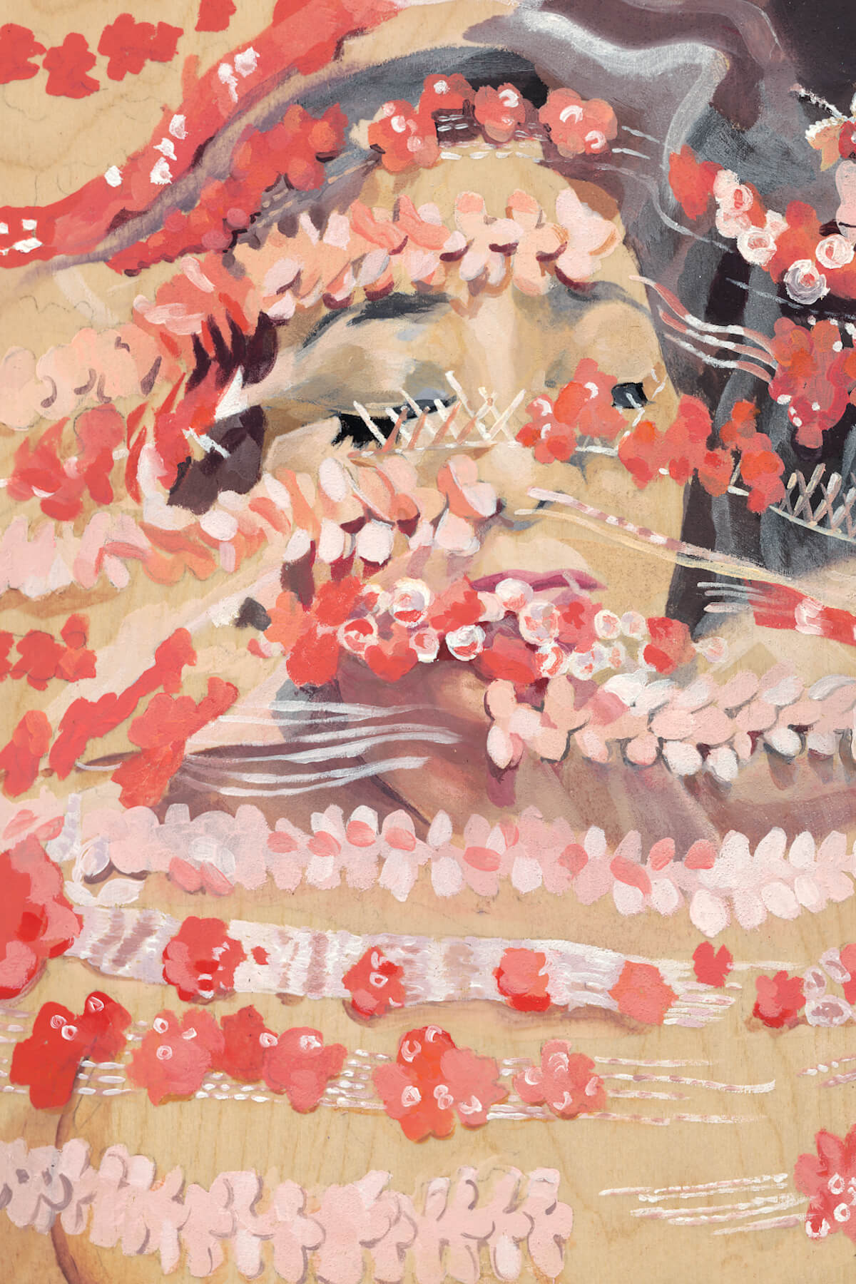 A painting of a female face with dark hair, eyes closed, almost entirely obscured by rows of painted flowers in pink, red, and white which flow over the figure.