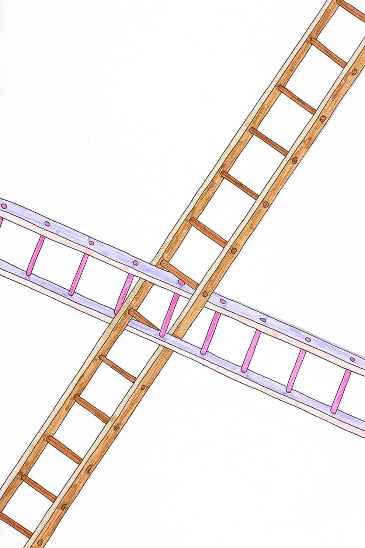 A drawing of two long ladders that intersect and have their rungs entwined in the middle. One ladder is gray/pink, the other is wood and they both extend beyond the edge of the card.