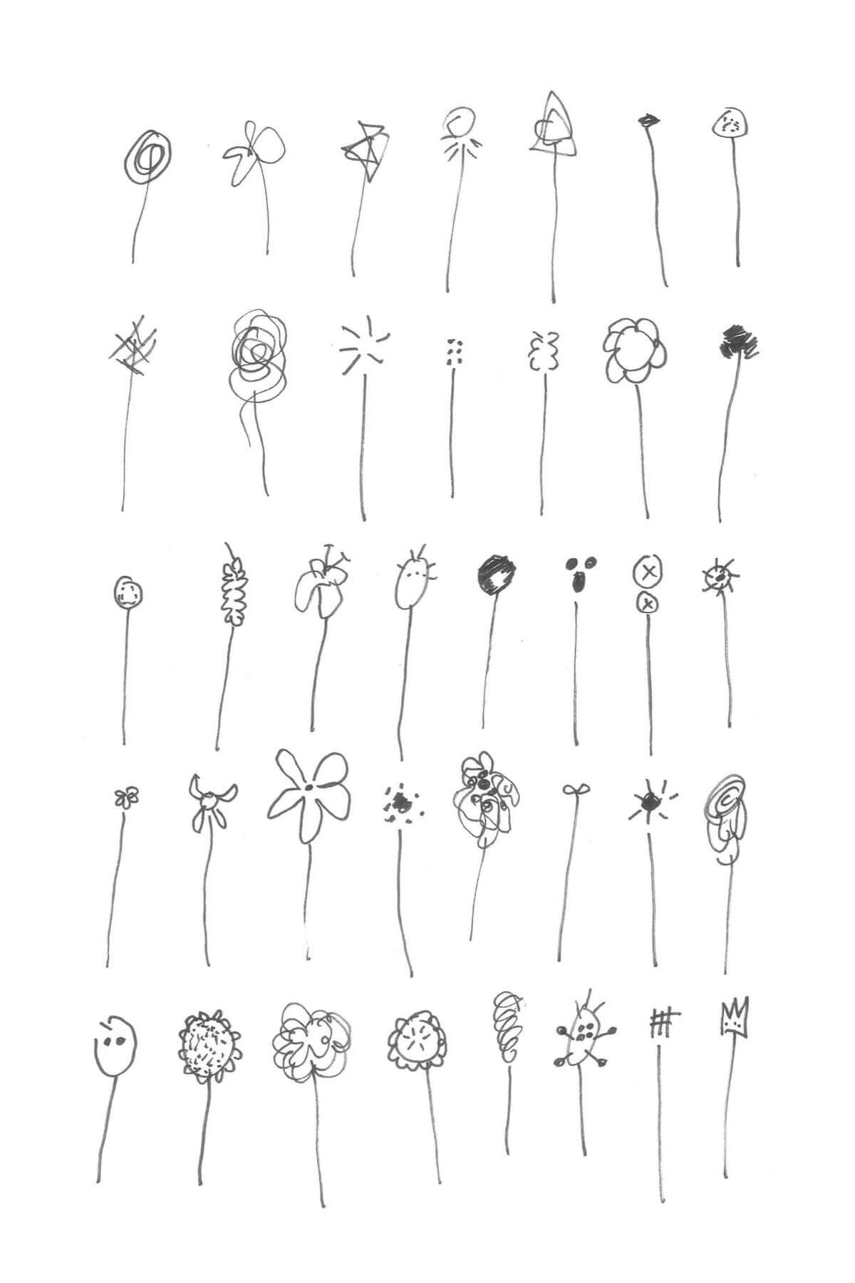 A drawing of a grid of simply drawn stick flowers. There are thirty-five in all in five rows of seven flowers.