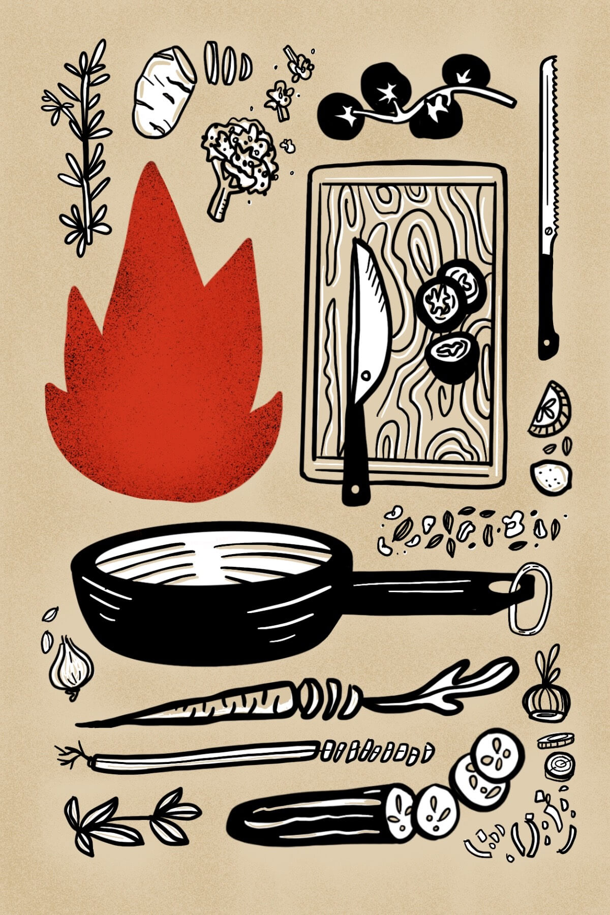 An illustration that features various elements that are found in kitchens. Vegetables, herbs, a frying pan, a cutting board and knives can be seen and in the center left there is a colorful red flame.