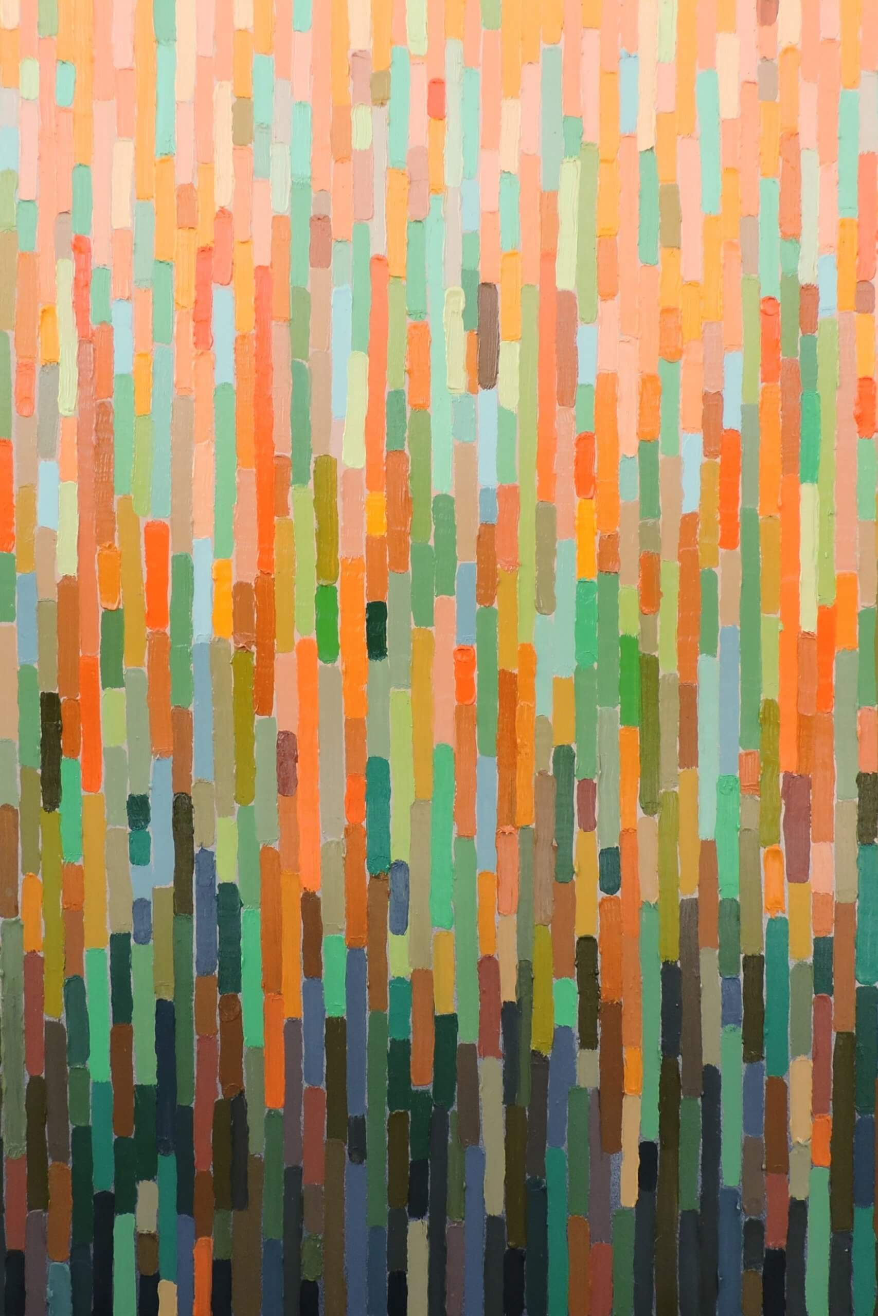 An abstract painting oriented vertically that is made of vertical rectangular strokes of color. The lighter pastel oranges, pinks and greens at the top change to darker tones of greys, greens and blues at the bottom.