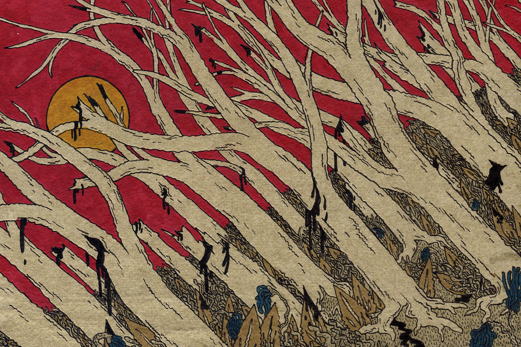A print that shows an off-kilter forest of dead trees that appears to be wounded and are oozing black goo. The sky behind them is a deep crimson with a golden sun.