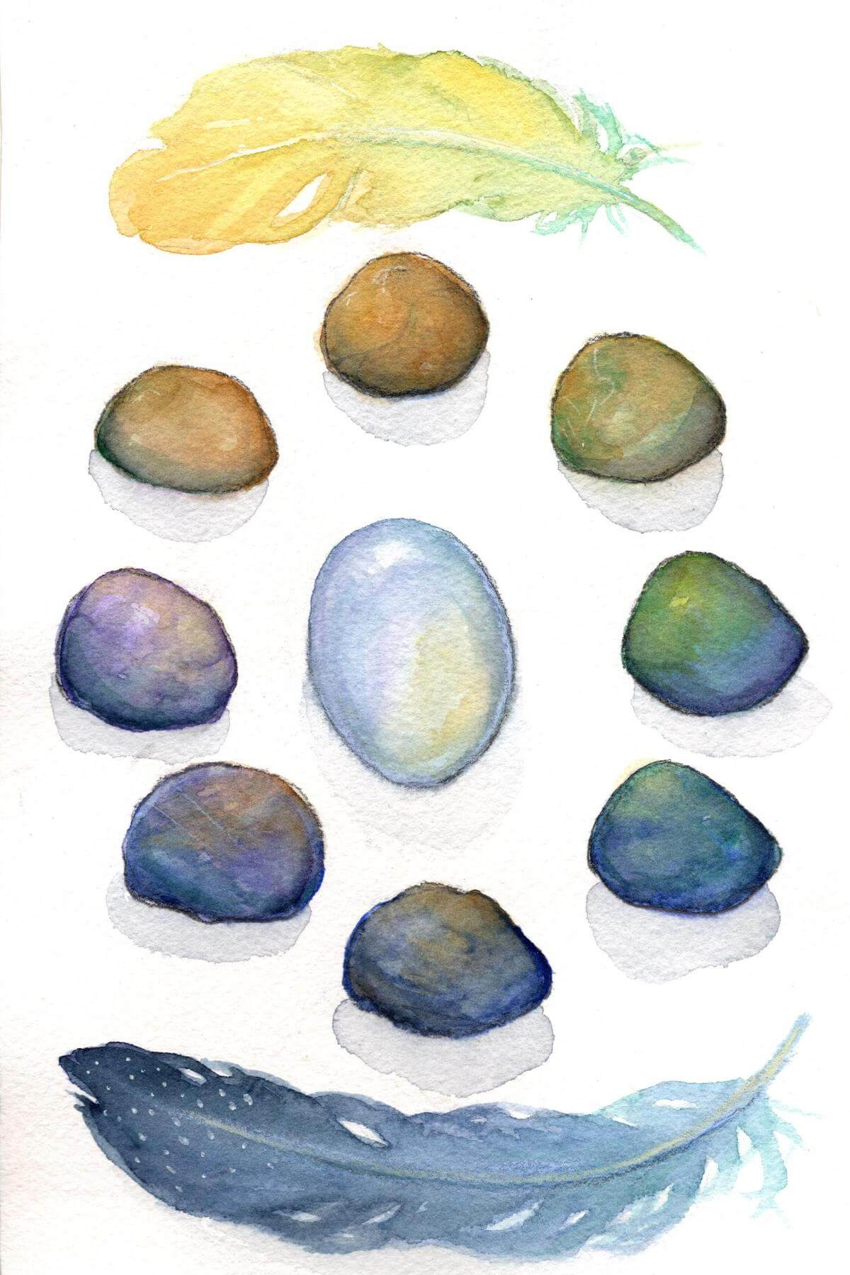 A watercolor painting of a circle of many colored stones with a yellow feather at the top and a blue feather at the bottom. In the center is an opal-like stone.