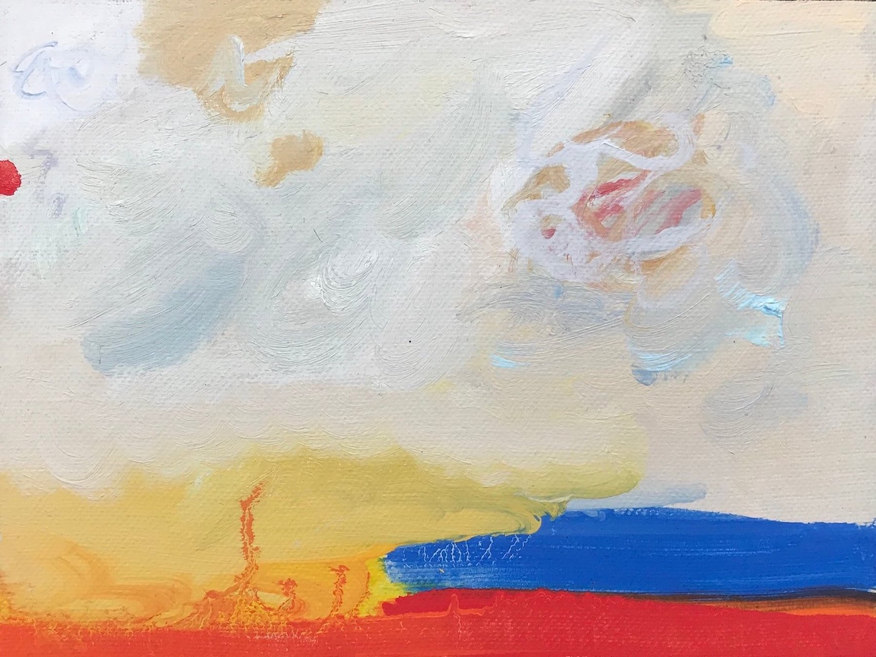 An abstract painting of a landscape that is mostly a rich cloudy sky. The bottom of the painting has swaths of bright red, blue and yellow.