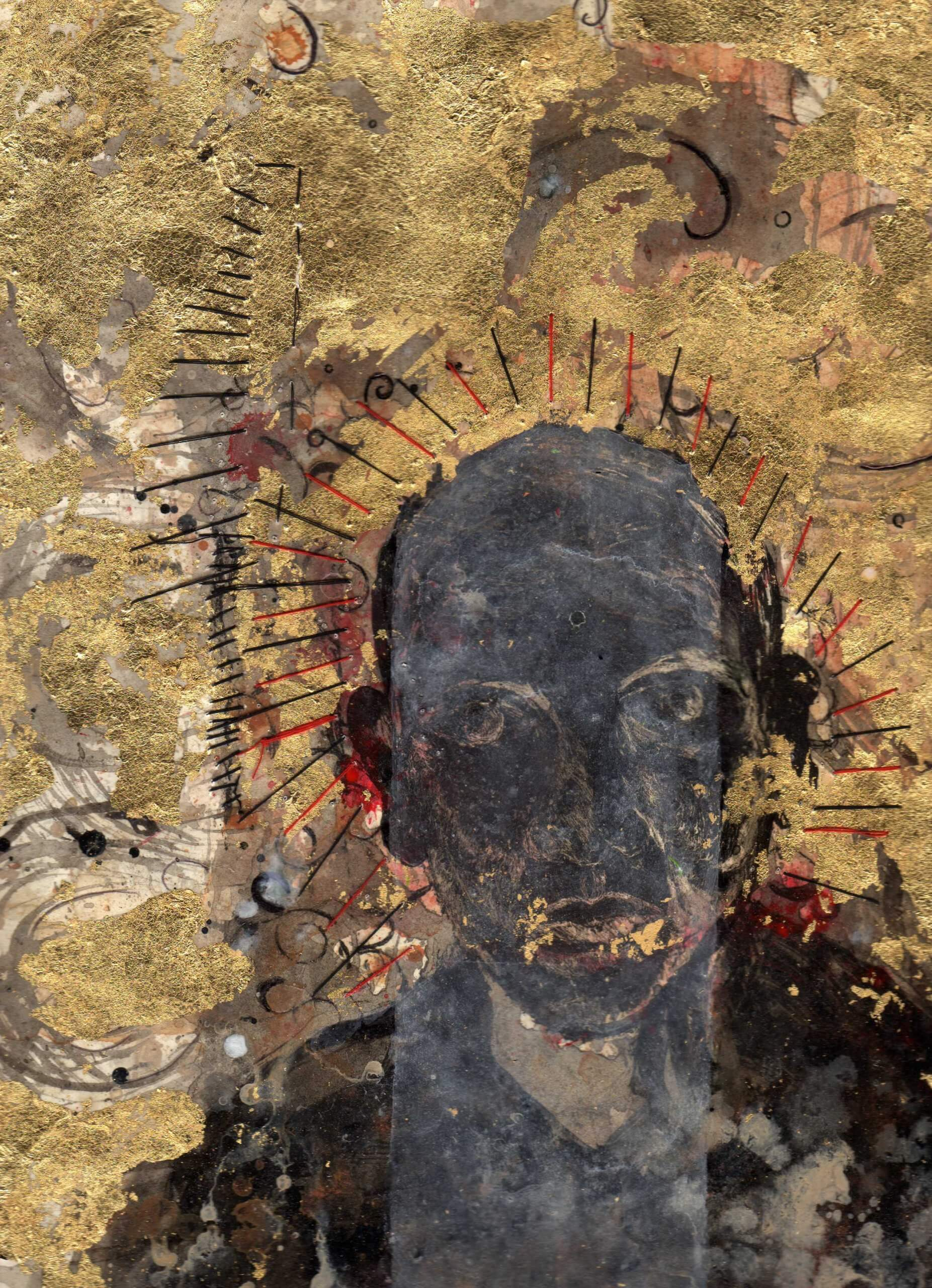 A mixed media painting of a Black man's head on a metallic gold highly texture background. The man seems to have a halo of red and black lines and his mouth is also gold.