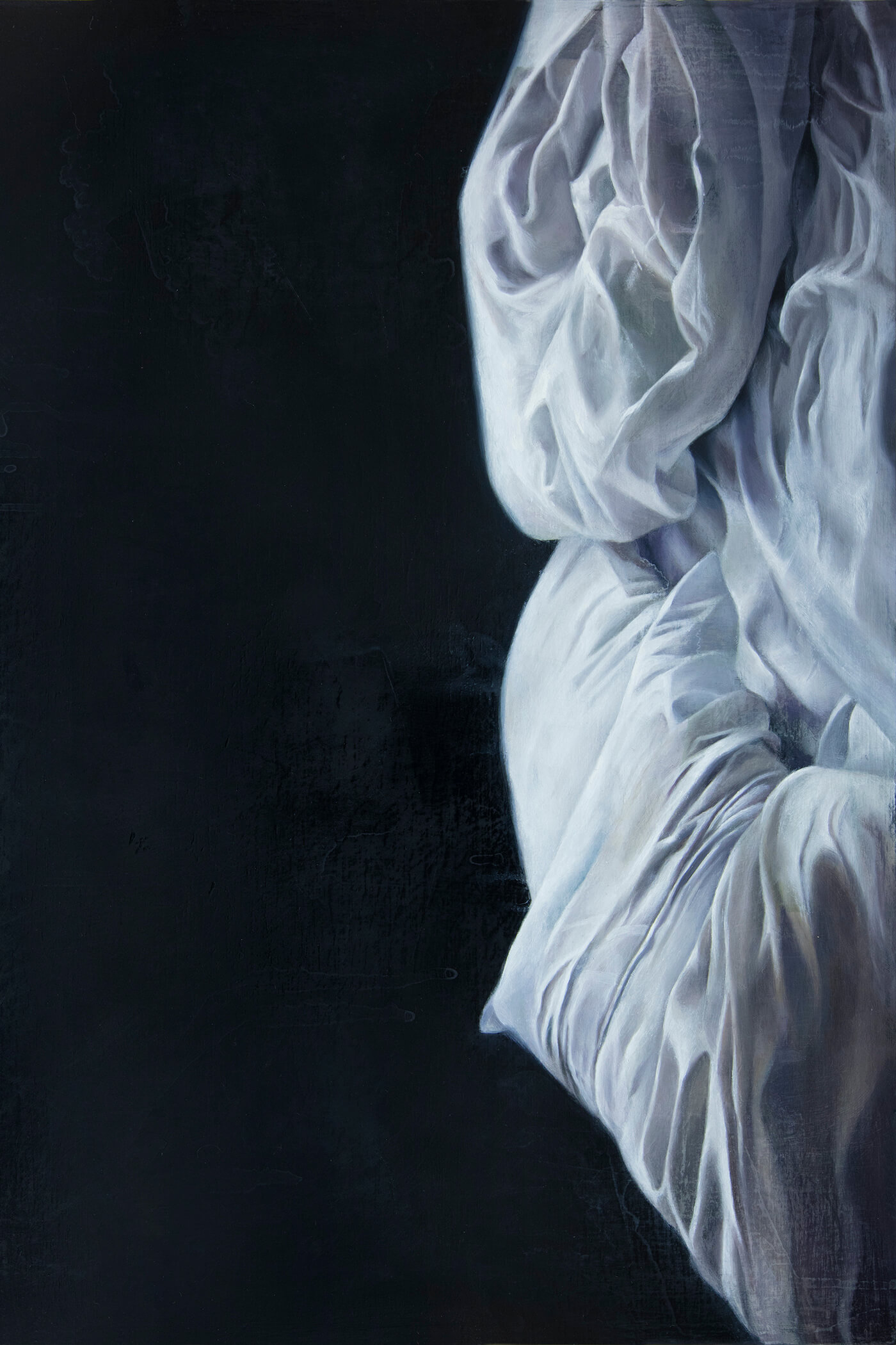 A painting of a portion of an empty bed against a dark black backround. Crumpled pillows and sheets rendered realistically in white and gray. Sheets and pillows indicate someone once slept there.