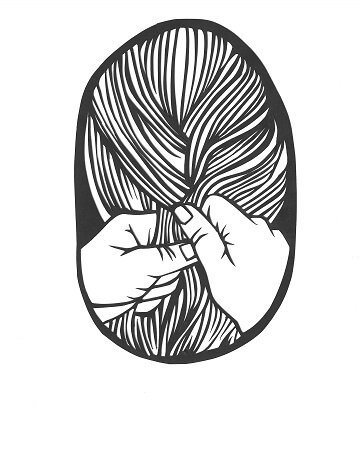 A black and white illustration that features two hands braiding a loose braid of someone's hair. The back of the head is pictured in an oval frame with a black outline and a white border.