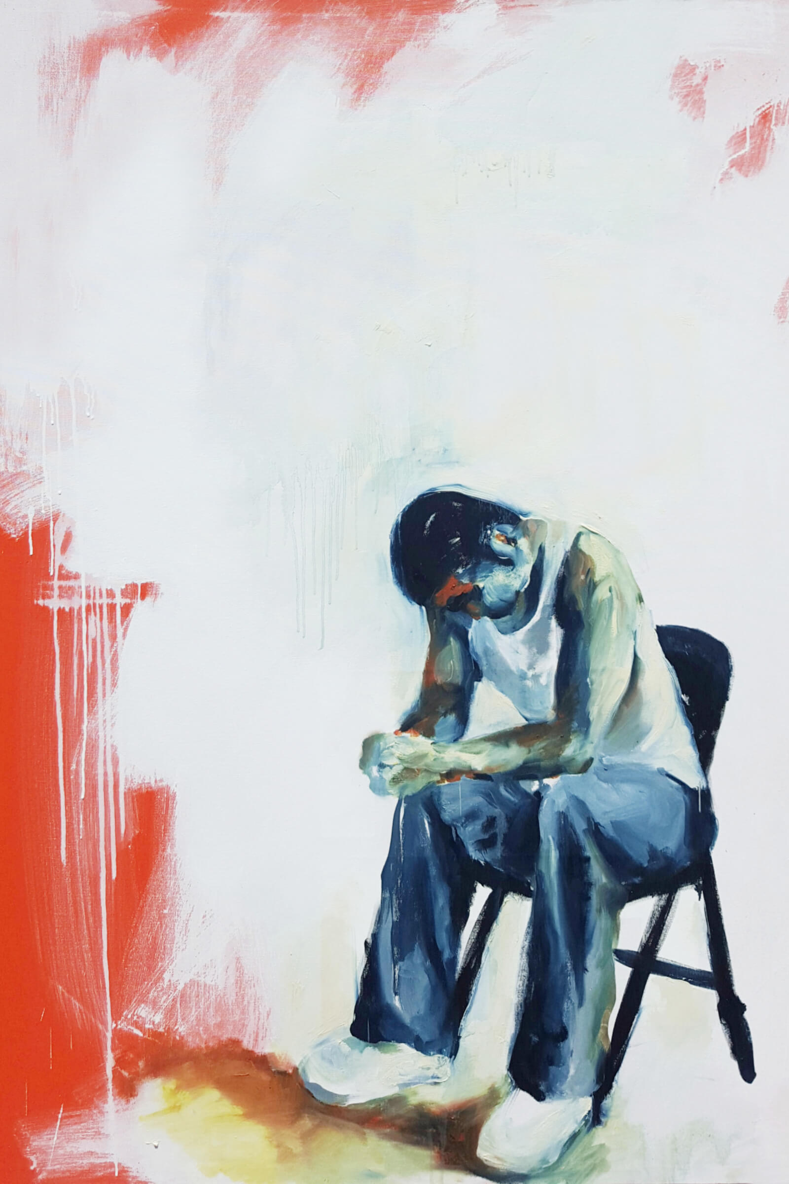 A painting in rough brushstrokes of a male figure weating blue pants and a white tanktop, seated on a black folding chair. The figure is leaning forward, elbows on knees, hands folded together, head bowed. The bakcground is broad-strokes of white paint, dripping in places, over a dark orange background.