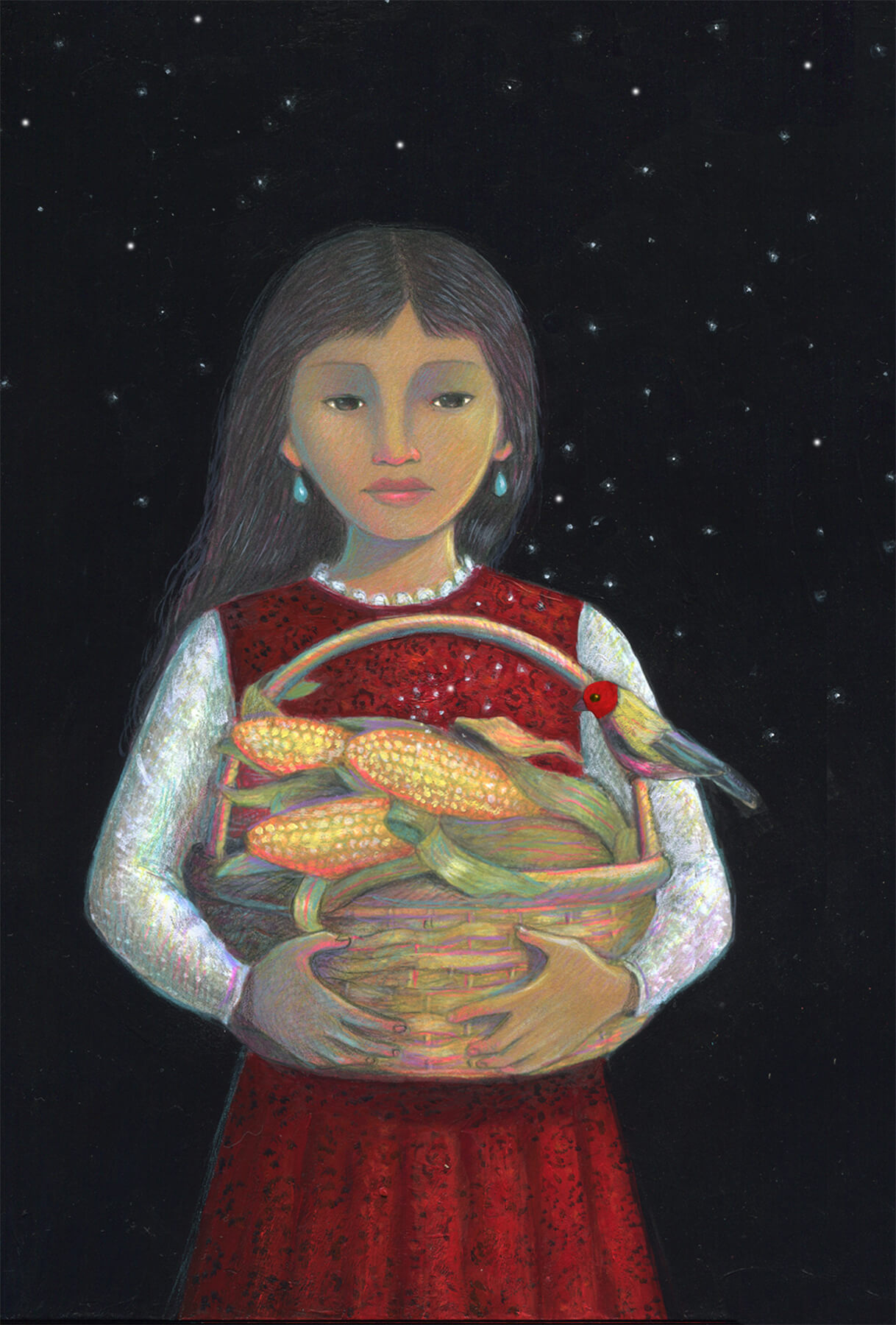A painting of a young light brown skinned girl holding a large basket of corn. She has a dark red dress on and the background is a starry night.