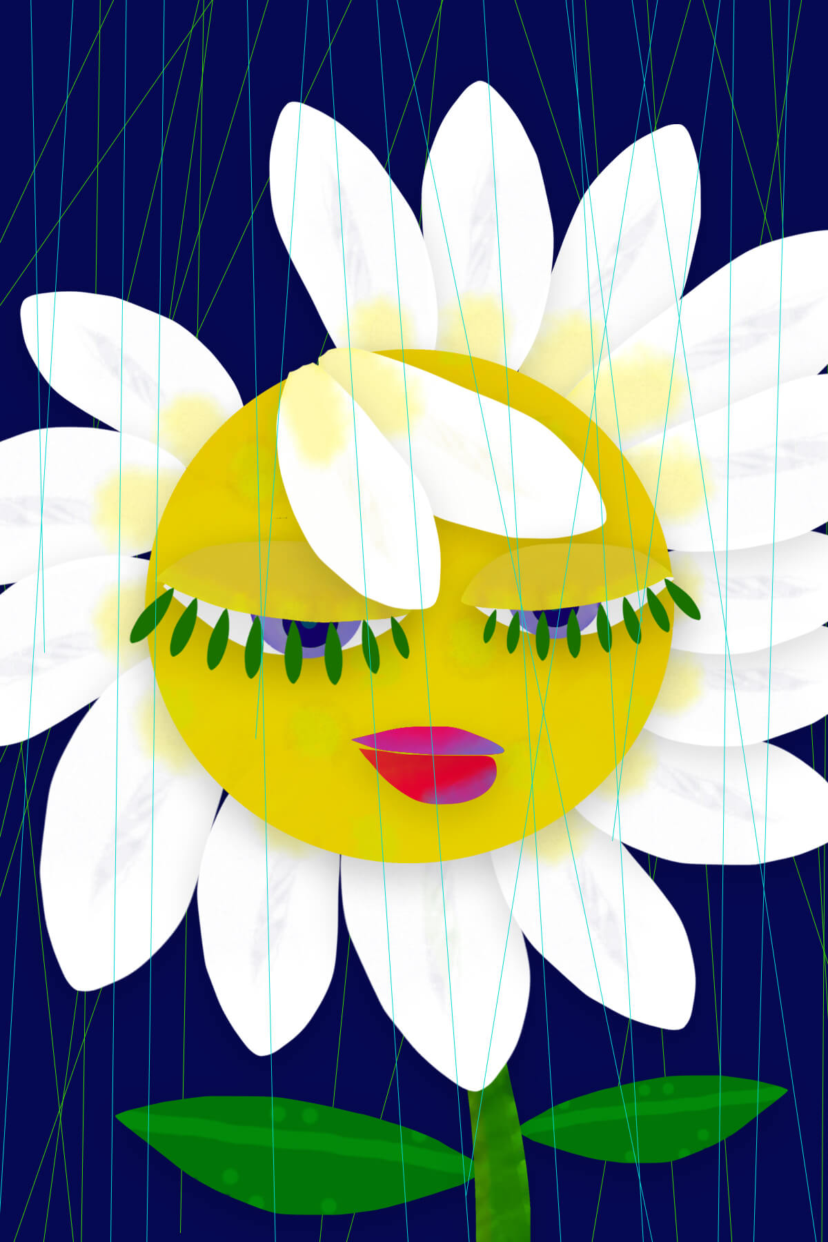 A colorful cartoon painting of a daisy with a face on it. Her eyes are closed and blue lines that appear to be rain cross over the image vertically.