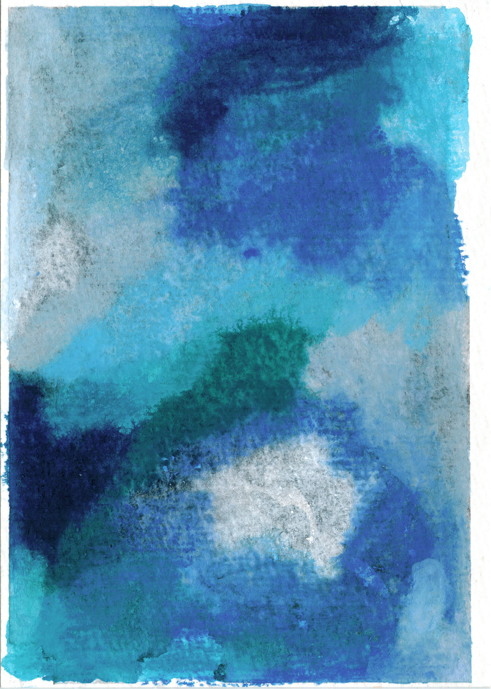 An abstract painting with large swaths of light and dark blues, white and gray.
