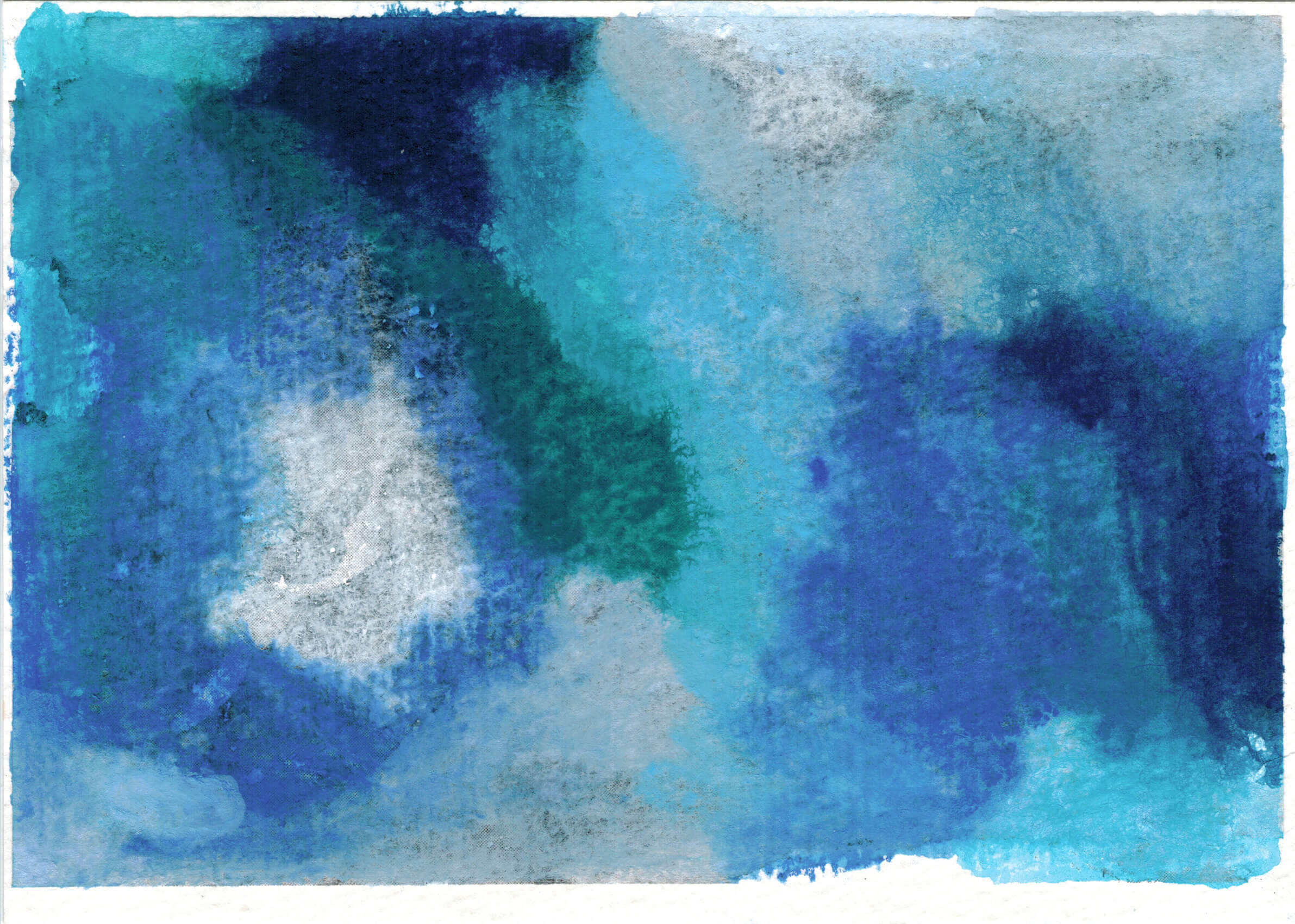 An abstract painting with large swaths of light and dark blues, white and gray. The texture of the paper shows through.