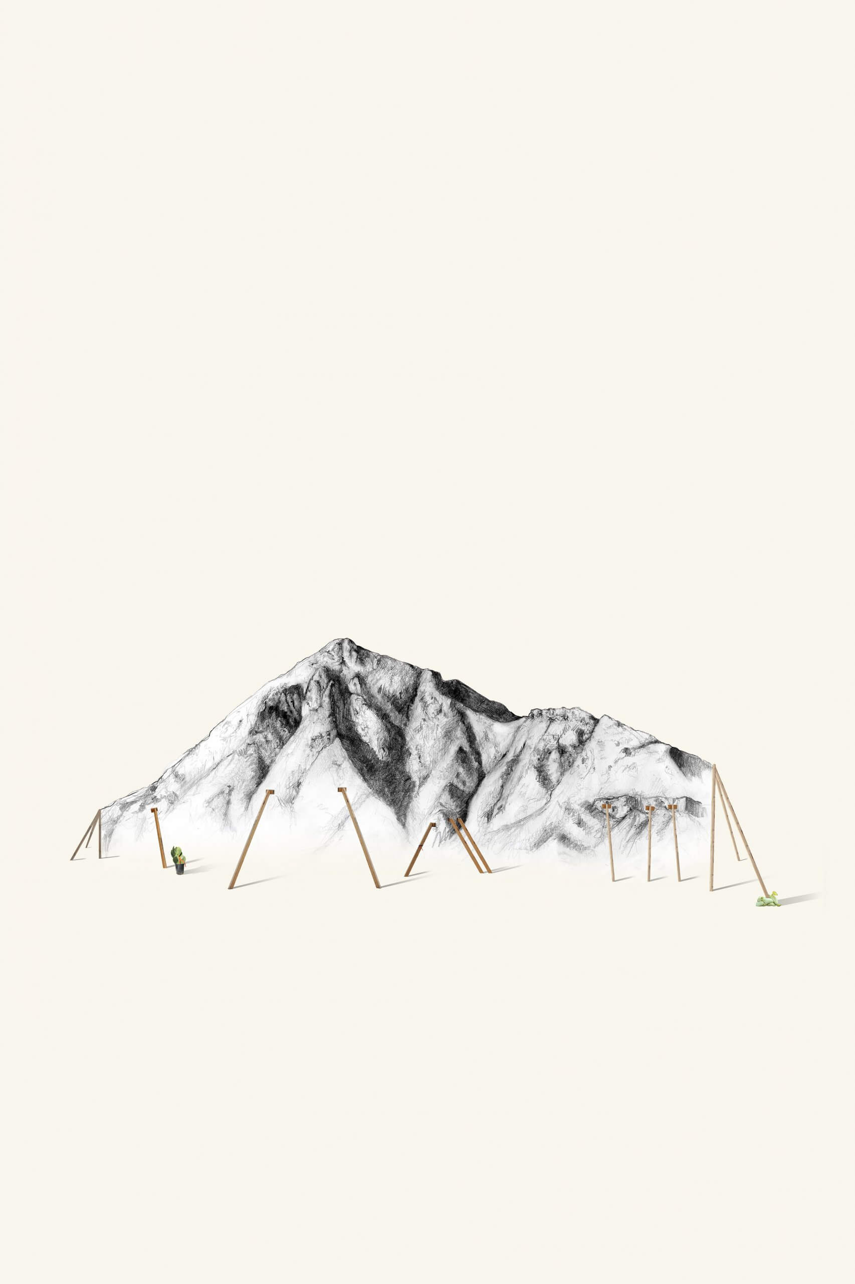 A very realistic pencil drawing of a mountain with less detailed images of wooden poles placed at different angles in the foreground. There is a very small human figure off to the left.