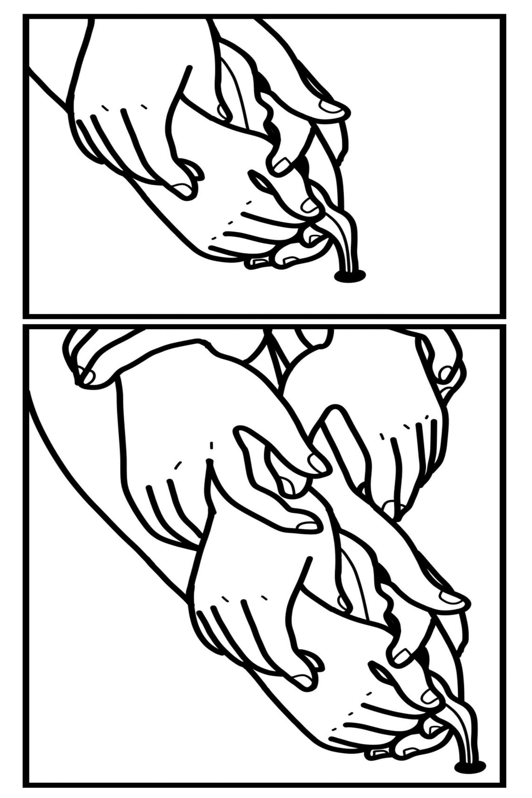 A two panel black and white illustration where both panels show multiple hands touching and massaging other hands in a cascade.