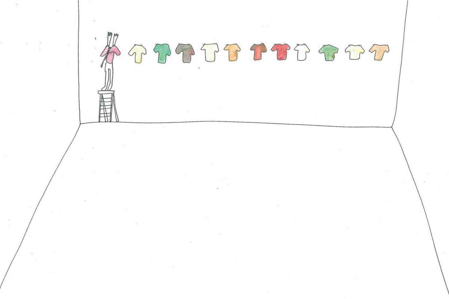 A simple line drawing on white, of a empty wall upon which 12 t-shirts are hung, in orange, green, gray, and white. On the far left, a figure stands on a stepladder and extends their arms up into the left-most pink t-shirt.